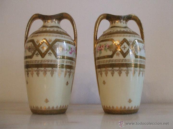 Antigüedades: PAREJA DE JARRONES- PORCELANA DE VIENA - Foto 2 - 46681440
