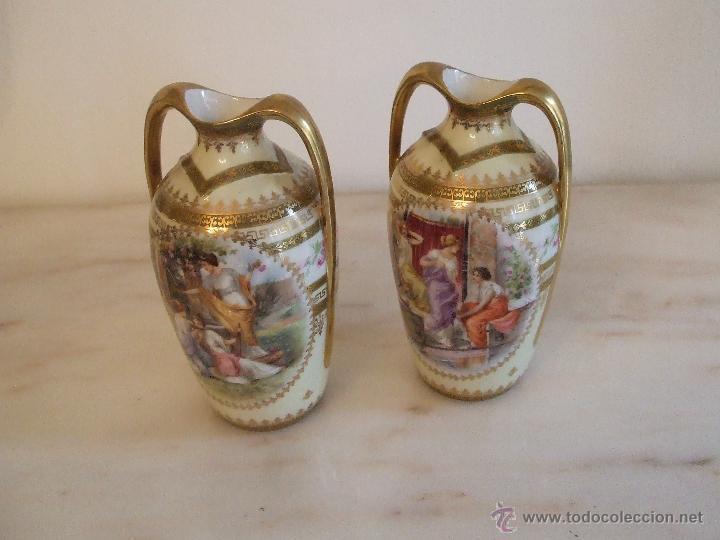 Antigüedades: PAREJA DE JARRONES- PORCELANA DE VIENA - Foto 4 - 46681440
