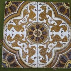 Antigüedades: LOTE DE 2 AZULEJOS ANTIGUOS DE SEVILLA/TRIANA. CERAMICA ANTONIO VADILLO PLATA. AZULEJO.DRAGONES.. Lote 46700282