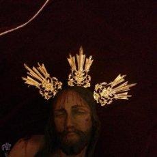 Antigüedades: , PRECIOSO JUEGO POTENCIAS CALADAS METAL DORADO CRISTO NIÑO JESUS SEMANA SANTA. Lote 60447941