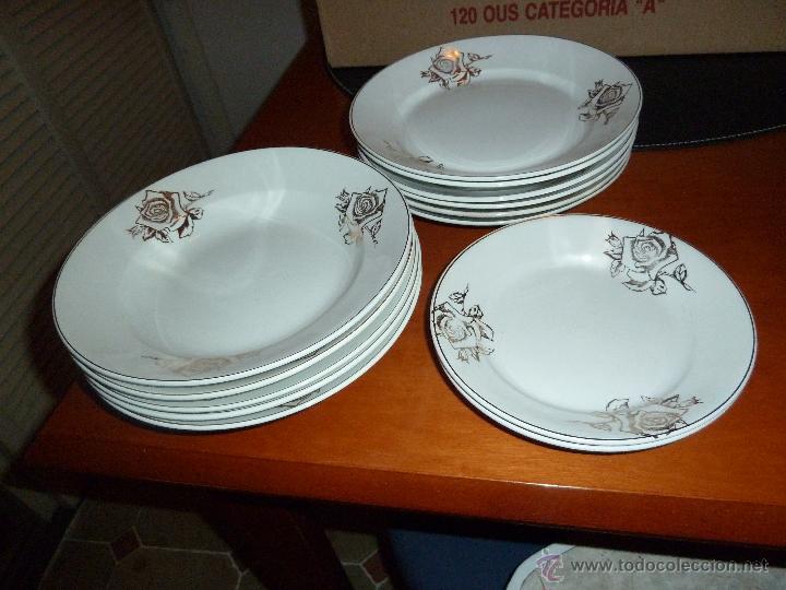 Antigüedades: f 1662 13 platos SAN CLAUDIO OVIEDO - ROSAS - Foto 2 - 46720094
