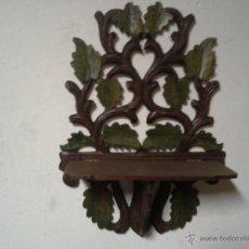Antigüedades: PAREJA DE MENSULAS MODERNISTA MADERA TALLADA Y POLICROMADA. Lote 46743402