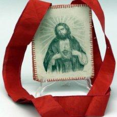 Antigüedades: ESCAPULARIO SAGRADO CORAZÓN DE JESÚS EN SEDA PINTADA S XIX. Lote 46769938