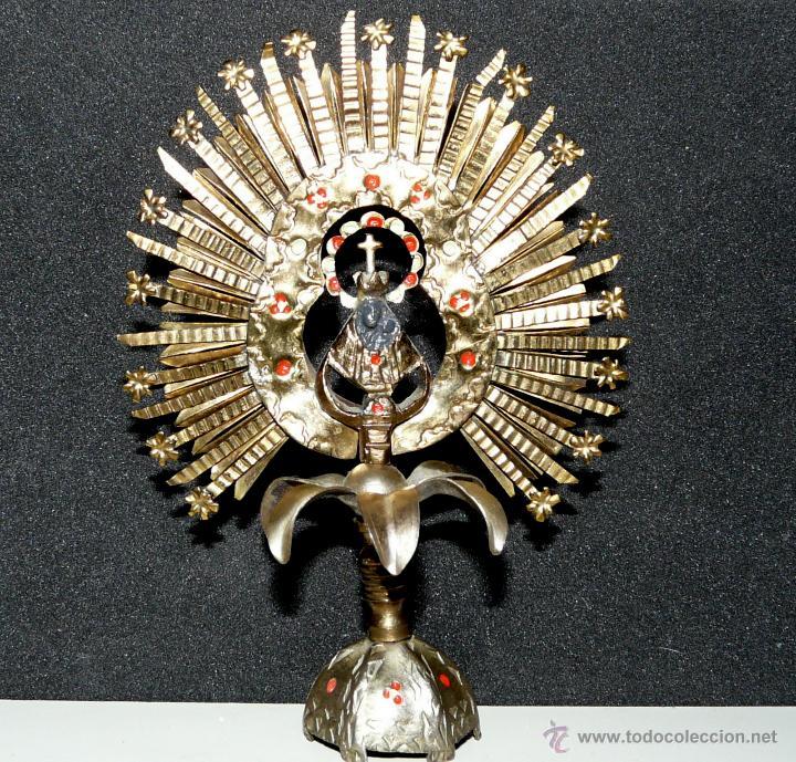 Antigüedades: REMATE PARA ESTANDARTE PROCESIONAL - CORONA VIRGEN, LATON SIGLO XIX - Foto 9 - 46791203