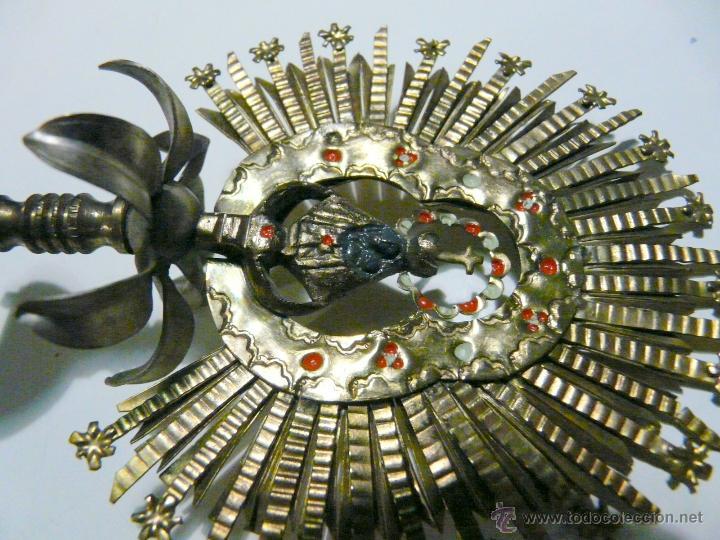 Antigüedades: REMATE PARA ESTANDARTE PROCESIONAL - CORONA VIRGEN, LATON SIGLO XIX - Foto 10 - 46791203