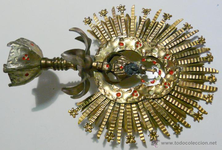Antigüedades: REMATE PARA ESTANDARTE PROCESIONAL - CORONA VIRGEN, LATON SIGLO XIX - Foto 11 - 46791203