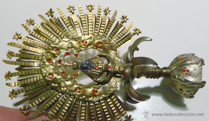 Antigüedades: REMATE PARA ESTANDARTE PROCESIONAL - CORONA VIRGEN, LATON SIGLO XIX - Foto 13 - 46791203