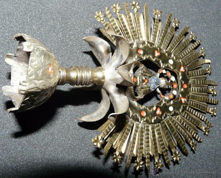 Antigüedades: REMATE PARA ESTANDARTE PROCESIONAL - CORONA VIRGEN, LATON SIGLO XIX - Foto 16 - 46791203
