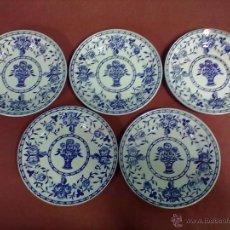 Antigüedades: IBERO TANAGRA CHINA OPACA SANTANDER 15 PLATOS POSTRE. Lote 46798870