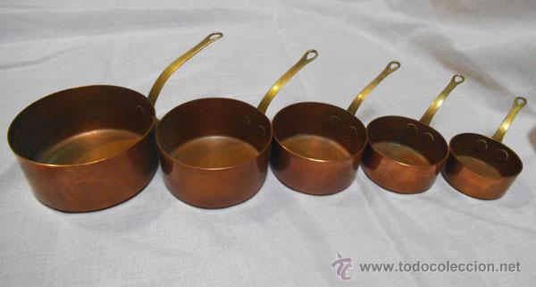 juego de 5 cazuelas pequeñas de cobre y asa de - Comprar Utensilios ...