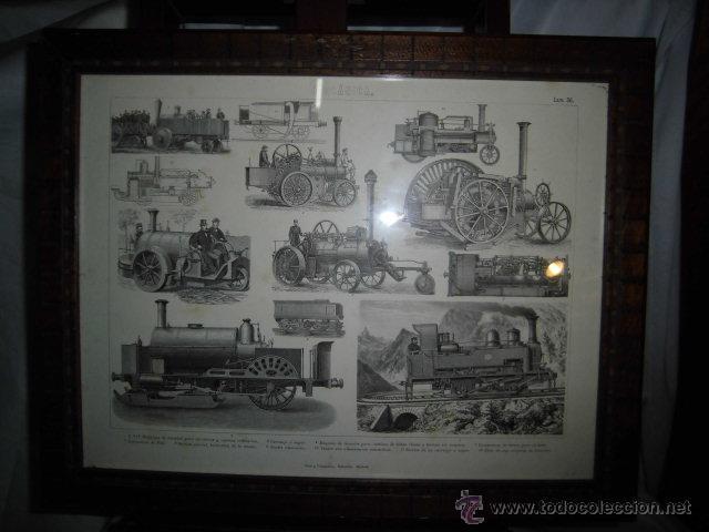 marco con antigua lamina de trenes pertenecient - Comprar Marcos ...