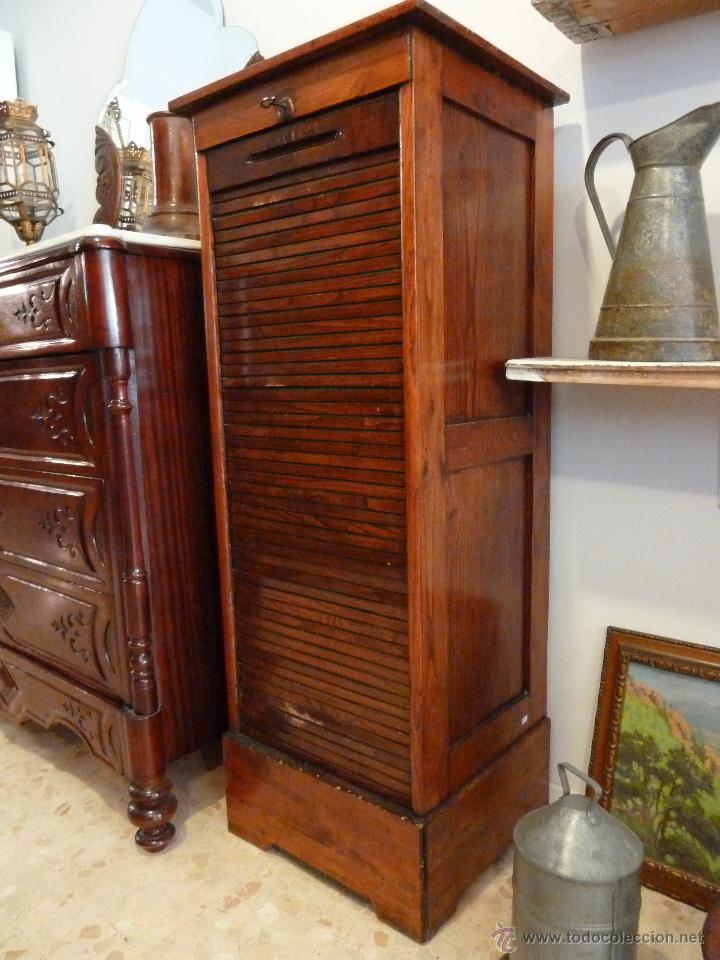 Archivador alto de persiana madera de roble comprar - Muebles antiguos de madera ...
