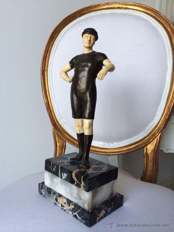 PORTERO BRONCE-MARFIL-MARMOL PORTORO-INGLATERRA C.1920 (Antigüedades - Hogar y Decoración - Figuras Antiguas)