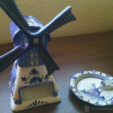 Antigüedades: LOTE DE 2 PORCELANAS DELFT-BLUE. MOLINO Y BANDEJITA. PERFECTO ESTADO.. Lote 46889202