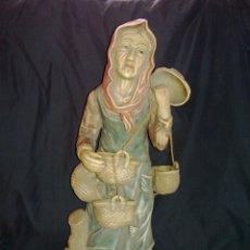 Antigüedades: VENDO ANTIGUA FIGURA DE GRAN TAMAÑO DE ANCIANA CON CESTOS (MÁS INFORMACIÓN Y FOTOS EN EL INTERIOR).. Lote 46901220
