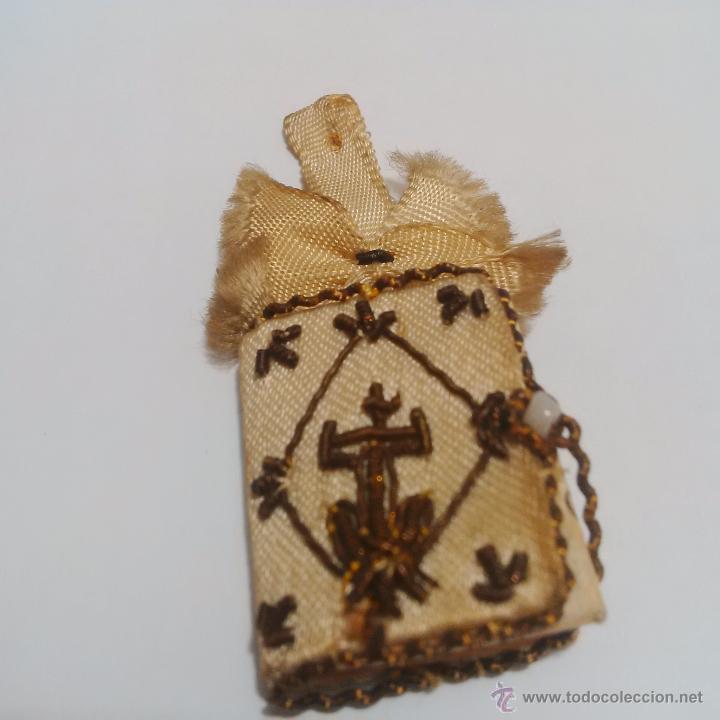 Antigüedades: ANTIGUO ESCAPULARIO BORDADO EN HILO DE ORO-LOS CUATRO SANTOS EVANGELIOS - BAÑERES BARCELONA - Foto 5 - 46905583