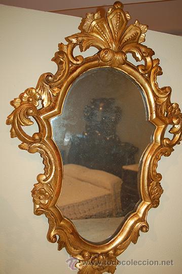 Antigüedades: Antigua Cornucopia - Espejo - Isabelino - Talla Madera - Dorada con pan de Oro - S. XIX - Foto 3 - 46916351