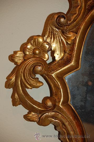 Antigüedades: Antigua Cornucopia - Espejo - Isabelino - Talla Madera - Dorada con pan de Oro - S. XIX - Foto 5 - 46916351