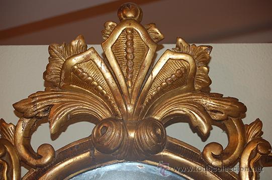 Antigüedades: Antigua Cornucopia - Espejo - Isabelino - Talla Madera - Dorada con pan de Oro - S. XIX - Foto 6 - 46916351