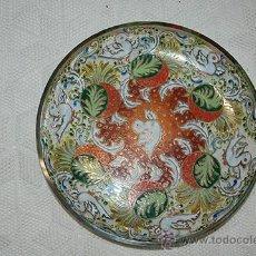 Antigüedades: BONITO CENTRO DE MESA - PLATO - BANDEJA - CRISTAL - PINTADO A MANO - FIRMA CIRERA. Lote 46917097