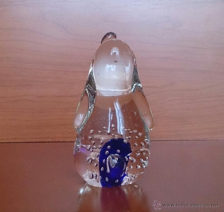 Antigüedades: Gracioso perro pisapapeles en cristal de murano con toque azul añil . - Foto 3 - 46938331