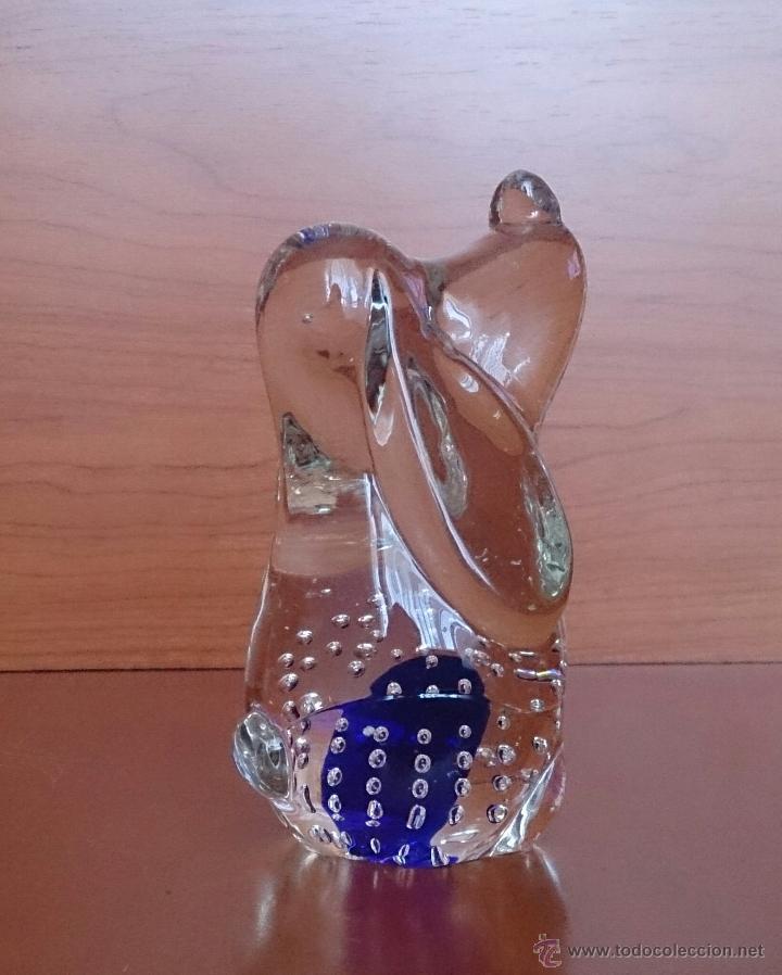 Antigüedades: Gracioso perro pisapapeles en cristal de murano con toque azul añil . - Foto 4 - 46938331