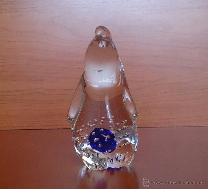 Antigüedades: Gracioso perro pisapapeles en cristal de murano con toque azul añil . - Foto 7 - 46938331