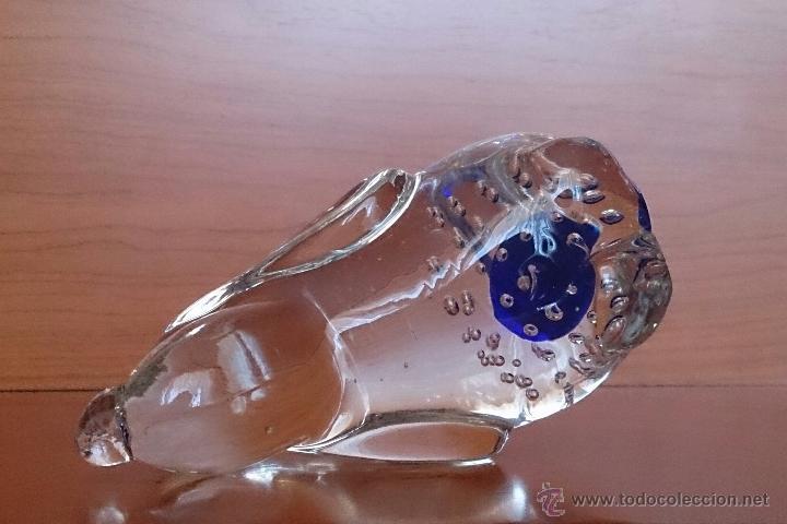 Antigüedades: Gracioso perro pisapapeles en cristal de murano con toque azul añil . - Foto 11 - 46938331