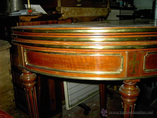 Antigüedades: Mesa de juego y comedor 3 tapas - nogal estilo Luis XVI - plegable bisagras especiales - Encargo - Foto 2 - 46940858