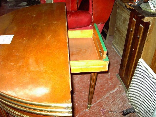 Antigüedades: Mesa de juego y comedor 3 tapas - nogal estilo Luis XVI - plegable bisagras especiales - Encargo - Foto 4 - 46940858