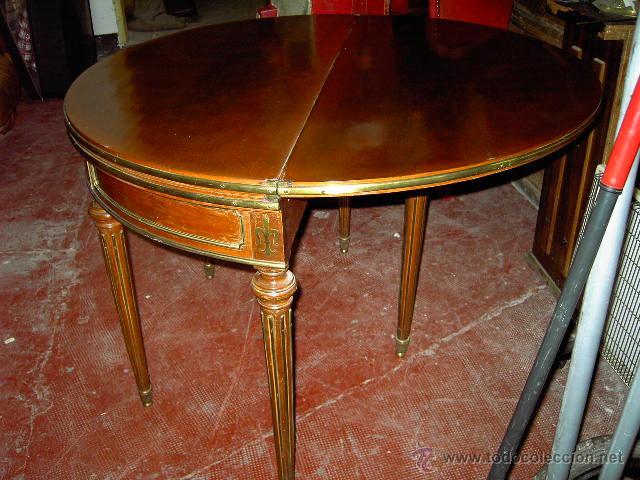 Antigüedades: Mesa de juego y comedor 3 tapas - nogal estilo Luis XVI - plegable bisagras especiales - Encargo - Foto 5 - 46940858