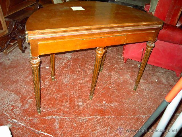 Antigüedades: Mesa de juego y comedor 3 tapas - nogal estilo Luis XVI - plegable bisagras especiales - Encargo - Foto 6 - 46940858
