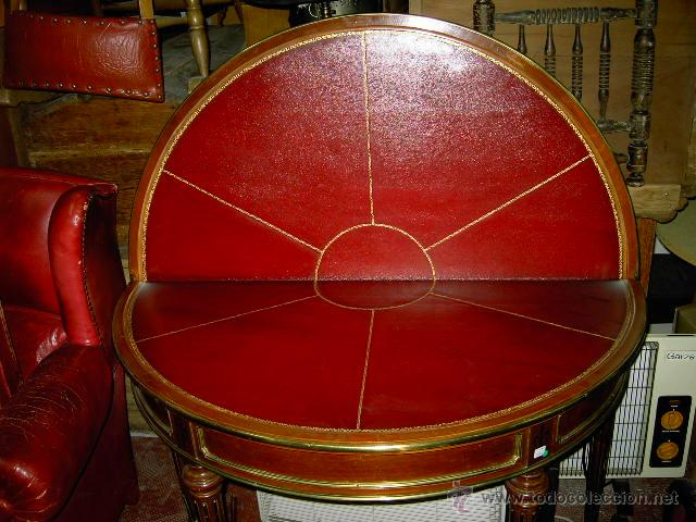 Antigüedades: Mesa de juego y comedor 3 tapas - nogal estilo Luis XVI - plegable bisagras especiales - Encargo - Foto 7 - 46940858