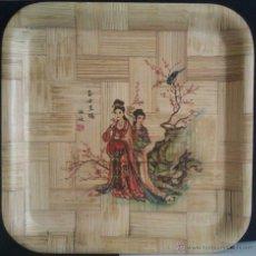 Antigüedades: BONITA BANDEJA MUY ANTIGUA DE BAMBÚ PROCEDENTE DE TAIWAN REPUBLICA DE CHINA HECHA Y PINTADA A MANO. Lote 46948222