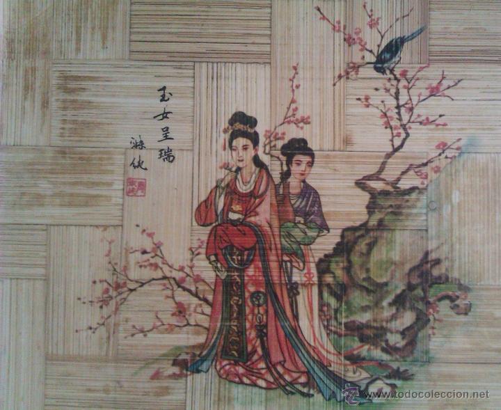 Antigüedades: BONITA BANDEJA MUY ANTIGUA DE BAMBÚ PROCEDENTE DE TAIWAN REPUBLICA DE CHINA HECHA Y PINTADA A MANO - Foto 2 - 46948222