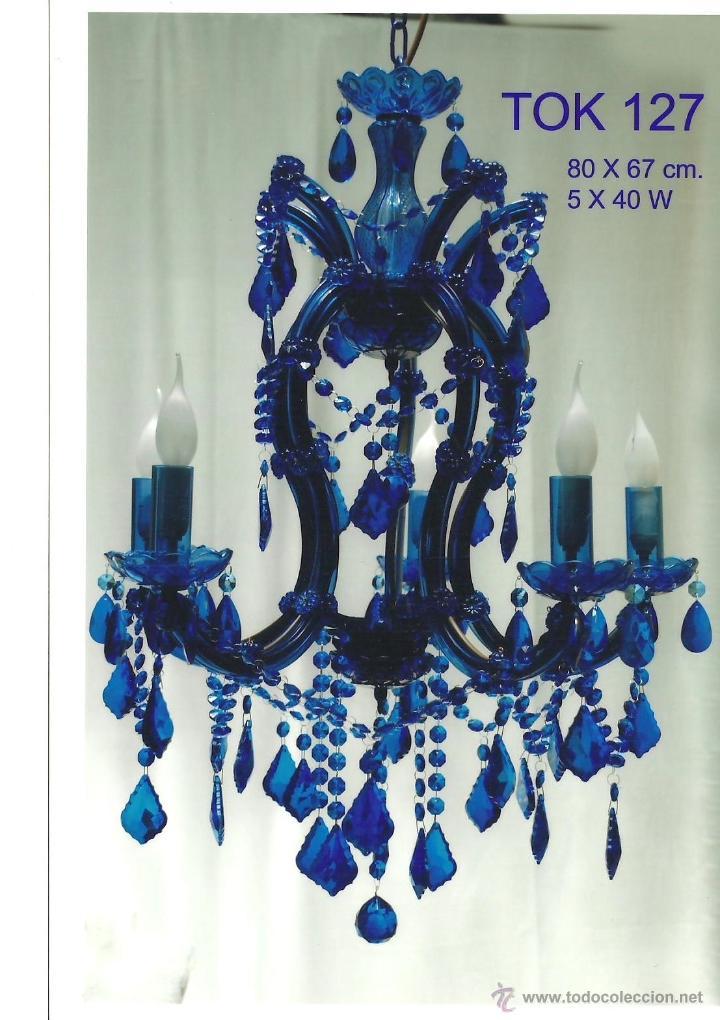 lmparaaraa de cristal en color azul