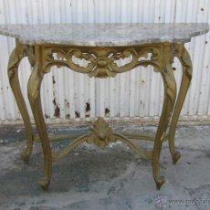 Antigüedades: CONSOLA ANTIGUA EN MADERA Y PAN DE ORO REPINTADA CON TABLERO DE MARMOL. Lote 46953944