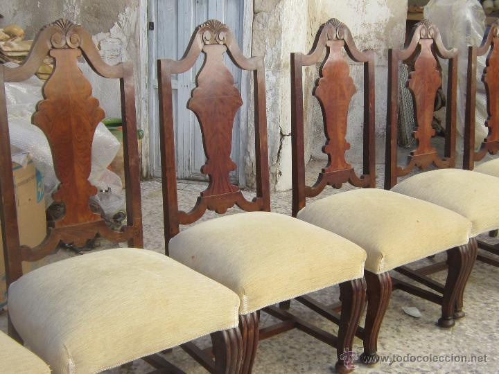 9 SILLAS EN MADERA DE PINO Y NOGAL (Antigüedades - Muebles Antiguos - Sillas Antiguas)
