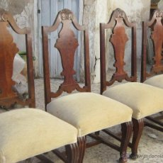 Antigüedades: 9 SILLAS EN MADERA DE PINO Y NOGAL. Lote 46954077