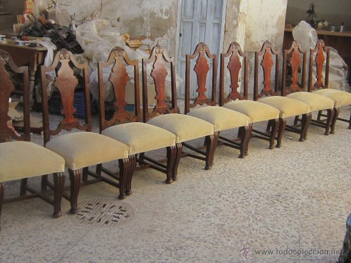 Antigüedades: 9 SILLAS EN MADERA DE PINO Y NOGAL - Foto 3 - 46954077