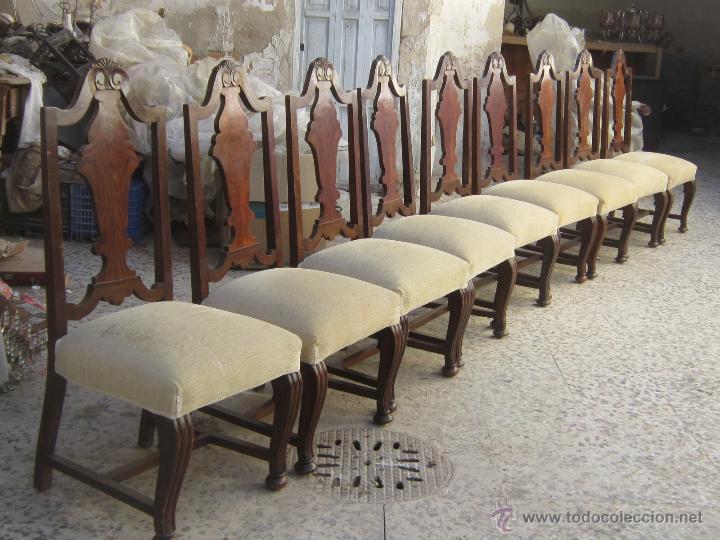 Antigüedades: 9 SILLAS EN MADERA DE PINO Y NOGAL - Foto 4 - 46954077