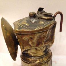 Antigüedades: ANTIGUA LAMPARA DE MINERO DE CARBURO EN BRONCE 1900. Lote 46982276