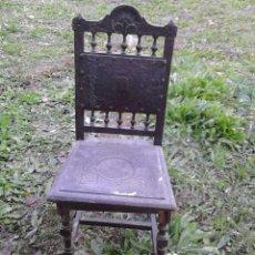 Antigüedades: SILLA DE MADERA Y CUERO. Lote 46991075