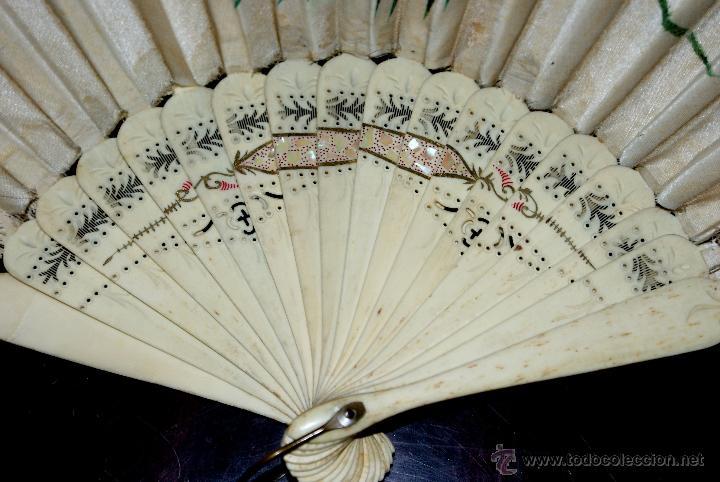 Antigüedades: ABANICO CON EL PÁIS EN SEDA PINTADA A MANO Y VARILLAS DE MARFIL - CIRCA 1880 - Foto 6 - 47024609