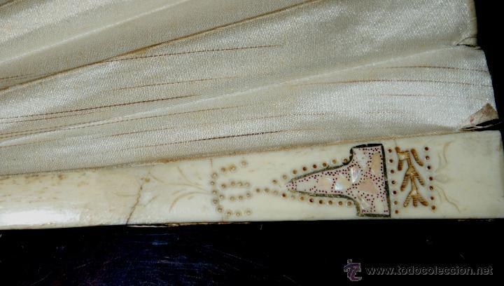 Antigüedades: ABANICO CON EL PÁIS EN SEDA PINTADA A MANO Y VARILLAS DE MARFIL - CIRCA 1880 - Foto 10 - 47024609