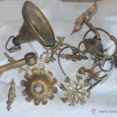 Antigüedades: CONJUNTO APLIQUES BRONCE Y METAL , TIRADORES, HUMERO LAMPARA VOTICA, PASA CORTINAS ANCHO ETC. Lote 193665888