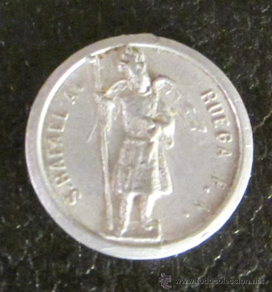 MEDALLA DE ALUMINIO. S. RAFAEL A. RUEGA P.N. - SAN JUAN DE DIOS R.P.N. DIÁMETRO 2 CM (Antigüedades - Religiosas - Medallas Antiguas)