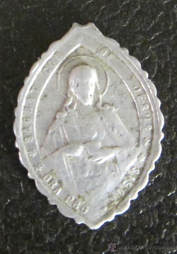Antigüedades: MEDALLA DE ALUMINIO. NTRA. SEÑORA DE LA CINTA. SAGRAT COR DE JESUS, ORA PRO NOBIS. LONGITUD 3 CM - Foto 2 - 47033646