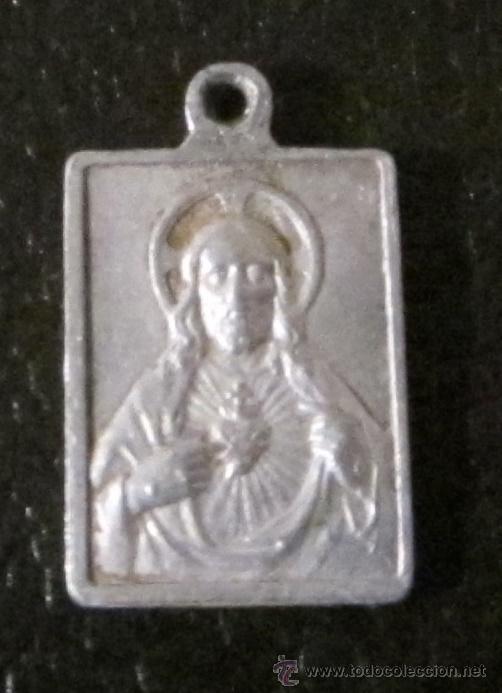 Antigüedades: MEDALLA DE ALUMINIO. NTRA. SRA. PERPETUO SOCORRO. SAGRADO CORAZÓN DE JESÚS. FORMATO 2 X 1,5 CM - Foto 2 - 47033685