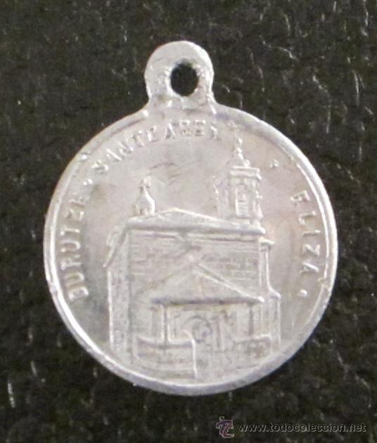 Antigüedades: MEDALLA DE ALUMINIO. SANTO CRISTO DE LEZO ROGAD POR NOSOTROS. GURUTZE SANTOAREN ELIZA. 2 CM - Foto 2 - 47034091